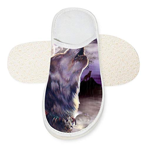 Price comparison product image Animal Wolf House Slippers Winter Keep Warm Cotton Slippers Flat Shoes Non-Slip Sole For Men Women