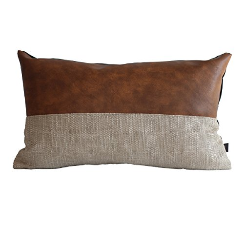 Decorative Pillow Covers Handmade - Kdays Halftan Lumbar Pillow Cover Designer Modern Throw Pillow Cover Decorative Faux Leather Pillow Cover Handmade Cushion Cover 12x20 Inches