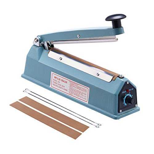 Eletional 8 inch Impulse Bag Sealer,Manual Bag Sealer Heat Seal Closer,2 Free Replacement Kit