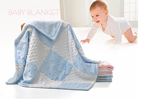 Blue Fleece Minky Baby Blanket by Little Bunny - White Satin Plush Receiving Blankets for Nursery - Bedding for Toddler - Elegant, Soft Sherpa Fabric, Ultra Unique Crib Blankee with Raised Dots