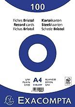 Exacompta 10506E Paquete de 100 Fiches Bristol retractiladas 21 x 29, 7 cm Liso no-perforadas Blancas