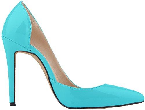 Salabobo Womens Sexy OL Night club D-orsay Pointed Toe Stiletto PU Pumps Blue qK0bNOl7n