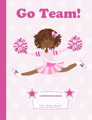"""Search : Composition Book: College Ruled - African American Cheerleader (3) - 140 Pages (70 Sheets) - 7.44"""" x 9.69""""- Blank Lined - Notebooks, Journals, & Gifts ... (Cheerleader - College Ruled) (Volume 3)"""