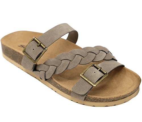 Women's Braided Strap Slip On Cork Flat Sandals Opoen Toe Slides SMK, Taupe 8 B(M) (Cork Strappy Sandals)