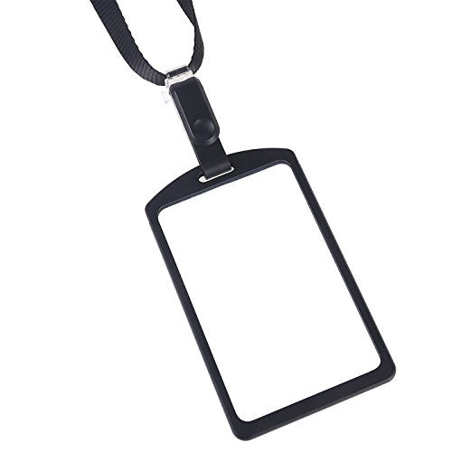 Aluminum Id Tags (Aluminum Badge Holder with Detachable Neck Lanyard/Strap for ID card, Working Card, Name Tag (Black))