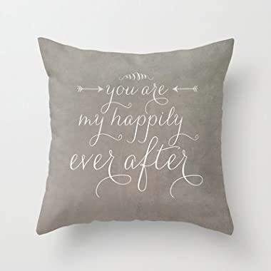 CBOutletArt Happily Ever After Cotton Linen Decorative Throw Pillow Case Cushion Cover 18*18 Inch a:86