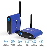 Wireless Audio Transmitter & Receiver,PAKITE 5.8GHz 24 Channels with IR Remote Extender,Support 480P 200M Transmission Wireless RCA Video & Audio Sender for Satellite DVD to TV Home Use