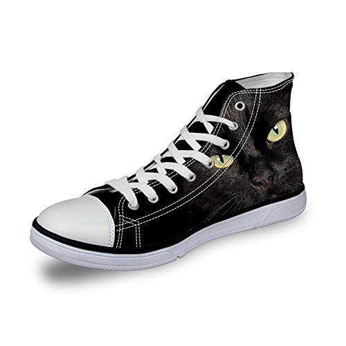 Bigcardesigns Scarpe Da Ginnastica Casual Alte Scarpe Da Ginnastica Scarpe Da Ginnastica Stampate Animali Neri Animali Neri Cat