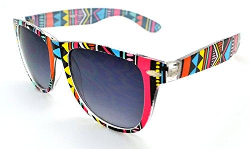 VOX Stylish Lightweight Durable Quality Mens & Womens Trendy Retro Sunglasses w/FREE Microfiber Pouch - Aztec Pattern Frame - Smoke Lens