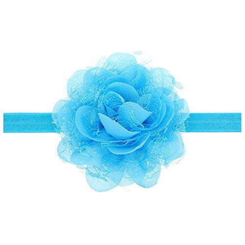 Floral Fall Baby Girls Cute Elastic Chiffon Lace flower Headbands Hair Bands BY-36 (Sky -