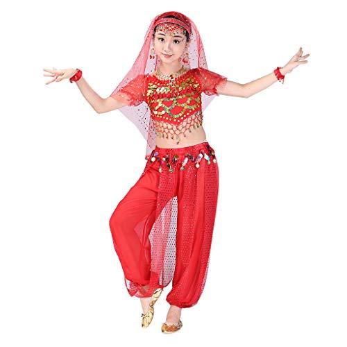 Girl Belly Dance Dress Performance Outfits Set,SuperUS 2PCS Handmade Children Girl Belly Dance Costumes Kids Belly Dancing Egypt Dance Cloth -