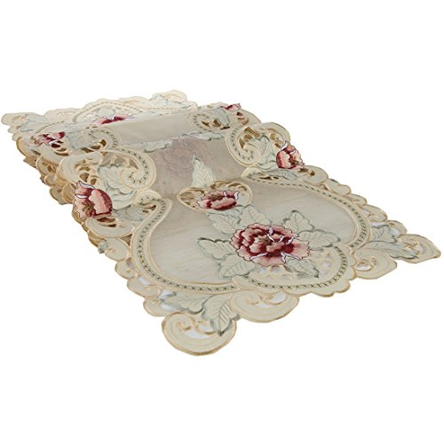 Home-X Embroidered Lace Table Runner. Pink and Burgundy Flowers with Gold Metallic Stitchery ()