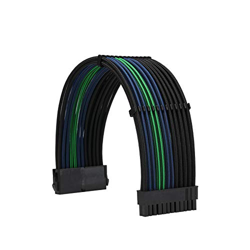 FormulaMod Power Supply Sleeved Cable 18AWG ATX 24P+ EPS 8-P+PCI-E8-P PSU Extension Cable Kit 30cm Length with Combs (Black-Blue Black-Green Black)