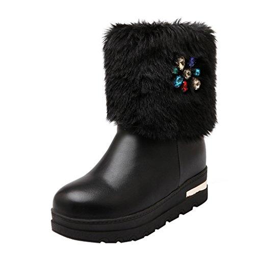 Mid Wedge Winter Black fur Faux Eclimb Short Women's Snow heel Boots wIaq4RCpx