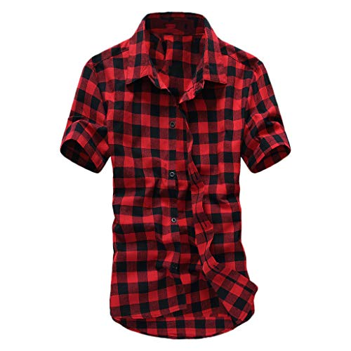 Lattice Plaid Painting Top Men Short Sleeve Large Size Casual Blouse Shirts