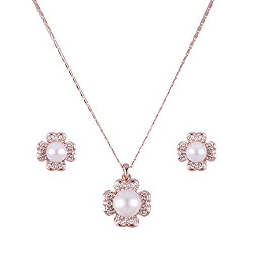 Rose Gold Silver Necklace Earring Jewelry Set for Women Pearl Crystal Charms (Jewelry Necklace Crystal 16' Simulated)