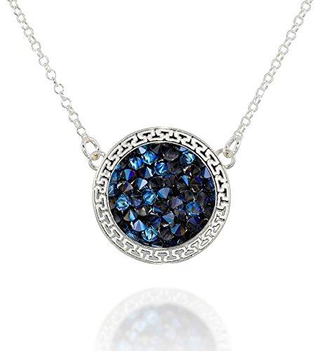 Swarovski Necklace Pave (Pavé Crystal Rock Pendant 925 Sterling Silver Necklace Made with Blue Swarovski Crystal, 18