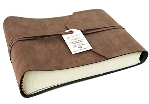 LEATHERKIND Viaggio Small Tan Handmade Recycled Leather Wrap Photo Album, Classic Style Pages (16cm x 22cm x (Recycled Leather Photo)