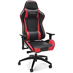 RESPAWN-105 Racing Style Gaming Chair - Reclining Ergonomic Leather Chair, Office or Gaming Chair (RSP-105-RED)