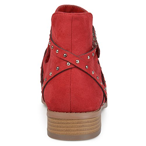 Brinley Co Womens Olly Faux Suede Studded Wrap Strap Side Cut-Out Pointed Toe Ankle Booties Red XwFeJqw
