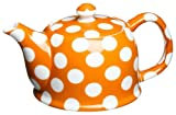 Classic Coffee & Tea White Dots Teapot, Pumpkin Orange, 20 Oz.