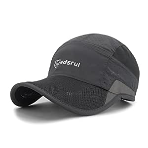LETHMIK Reflective Running Sports Cap Unisex Summer Quick Dry Outdoor Performance Hat Gray