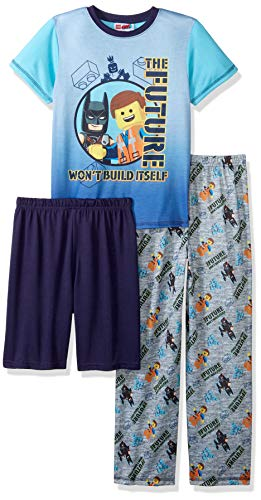 LEGO Little Movie 2 Boys Pajamas, 3 Piece Set, Emmet, Batman, Grayblue 6/7 ()