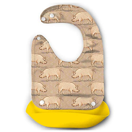 KZEMATLI Baby Bibs Pig Farm Animal Waterproof Silicone Bib for Easily Wipes Clean Comfortable Soft Adjustable