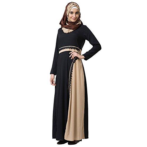 Amazon Black Lace Trim Sand Abaya Dress Clothing