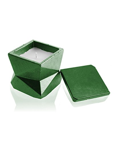 Scent Candellana Candles Candlefort Concrete Candle Modern III Green Metallic Warm Feather