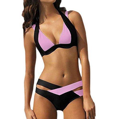 (SSYUNO 2019 Women's New Sexy Plus Size Triangle Bikini Cut Stripe Set Bra Bandeau Low Waist Bikini Swimsuit)