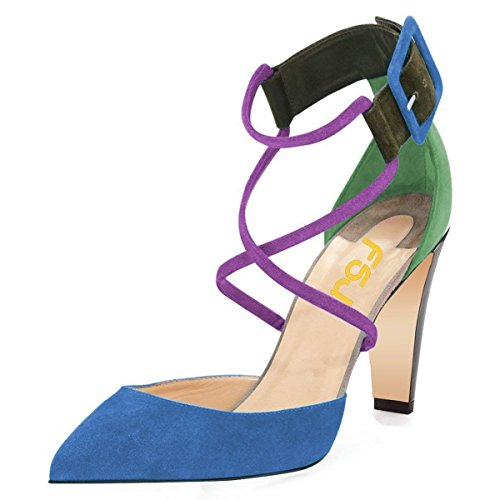 FSJ Women Classic Chunky Heels Pumps Ankle Strap Pointed Toe Stilettos Sandals Shoes Size 12 Blue-4'' (Leather 4' High Heel)