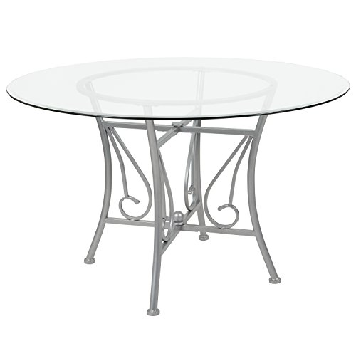 Flash Furniture Princeton 48'' Round Glass Dining Table with Silver Metal Frame