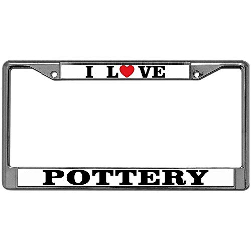 GND Automotive License Plate Frame, Metal Auto License Plate Frame Car Tag Holder I Love Pottery License Plate Frame Metal & Screw Kits Place on Any Car or Vehicle (Pottery Place)