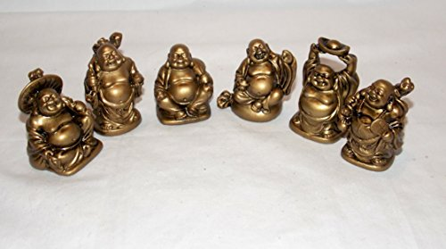 (LAUGHING BUDDAH New 6pc Antique Gold Color Buddha Figures FENG Shui Happiness Wealth 2