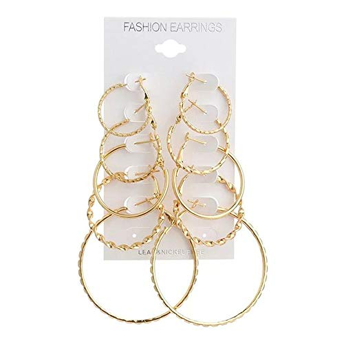 (KissYou Women Earrings Set Girls Hoops Earrings 18k Rose Gold Plated Earring Hoop Sterling Silver High Polished Round-Tube Click-Top Hoop Earrings (Gold))