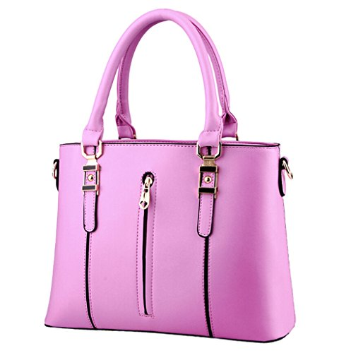 Abless Fashion New Women Zip Double Tote Handbag Messenger Crossbody Shoulder Bag-Lilac