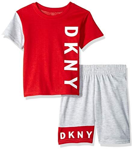 DKNY Boys' Little Sleeve T-Shirt and Short Sleepwear Set, Red/Heather Grey, 4 ()
