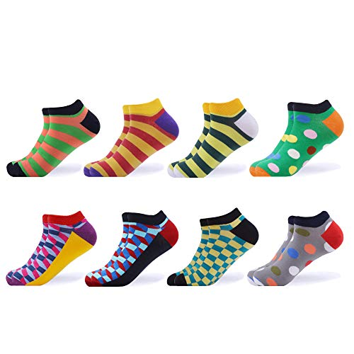 WeciBor Men's Dress Cool Colorful Fancy Novelty Funny Casual Combed Cotton Ankle Socks Pack (B058-45)