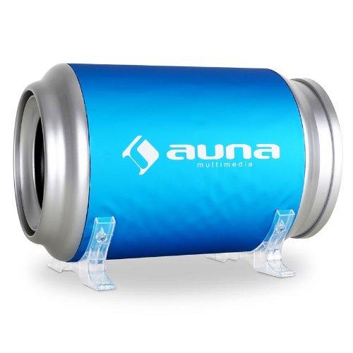 Auna C8CB200-9AActive Design Bass Tube Subwoofer 20cm / 8inch Bass Boost Remote Control, 500Watt–Blue/Silver 500Watt-Blue/Silver C8-CB200-9A