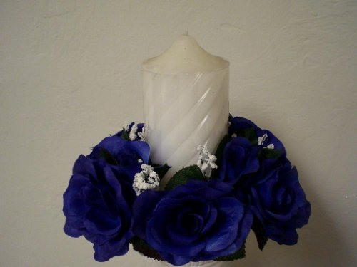 3 Candle Rings ROYAL BLUE Rose Center Piece Artificial Silk Flower 3' 4005RBL