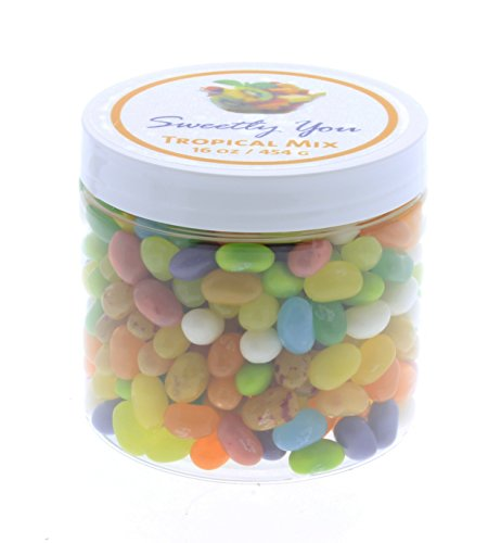 Jelly Belly 1 LB Tropical Mix Flavored Assorted Beans. (One Pound, 1 Pound) Bulk Jelly Beans in a resealable and reusable jar.