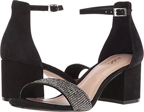 ALDO Women's GLADONIEL Heeled Sandal, Black Nubuck, 7.5 B US
