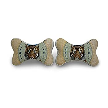 EnjoyIt Tiger Neck Pillow with Cotton Linen Surface and Memory Foam Insert, 10.8-Inch x 6.9-Inch x 4.8-Inch, One Pair