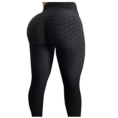 FITTOO Womens High Waist Textured Workout Leggings Booty Scrunch Yoga Pants Slimming Ruched Tights Black XL