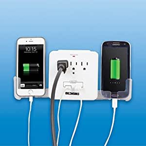 Usb outlet multiplier includes 3 outlets 2 usb ports and 2 pull out charging - Electrical outlet multiplier ...