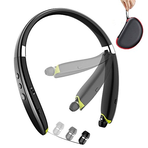 Foldable Bluetooth Headset,Wireless Bluetooth Headphones with Retractable Earbuds,Bluetooth Sweat Proof Sport Headphones with Carry Case Built in ()
