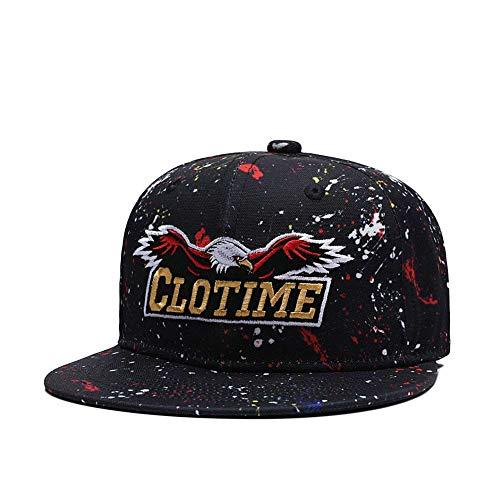 (CLOTIME Eagle Embroidered Snapback Graffiti Men Flatbrim Golf Baseball Cap Women Hip Hop Trucker Hat)
