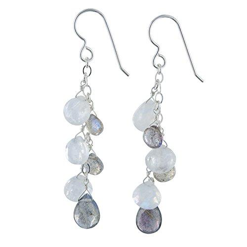 Labradorite Gemstone and Rainbow Moonstone Gemstone Sterling Silver Handmade Dangle Chandelier Earrings Designed by ASHANTI