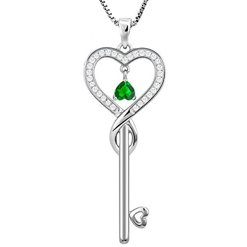 Studiocc Birthday Gifts, May Birthstone Good Lucky Heart Key Necklace, Infinity Endless Love Jewelry for Women, Mother & Daughter Necklace, Gifts for mom, sister, grandma, wife, friendship (Emerald)